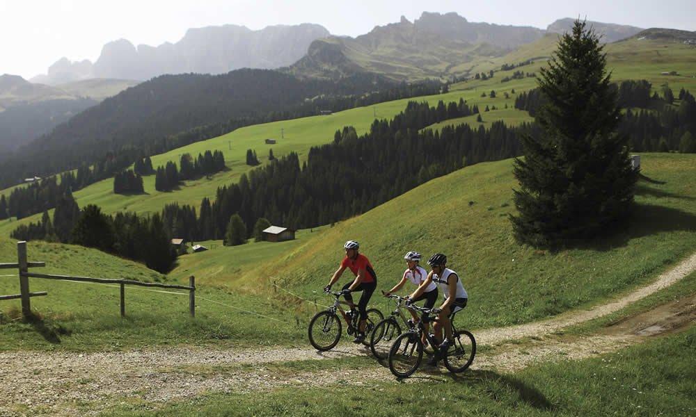 In sella alla bicicletta tra la primavera alpina